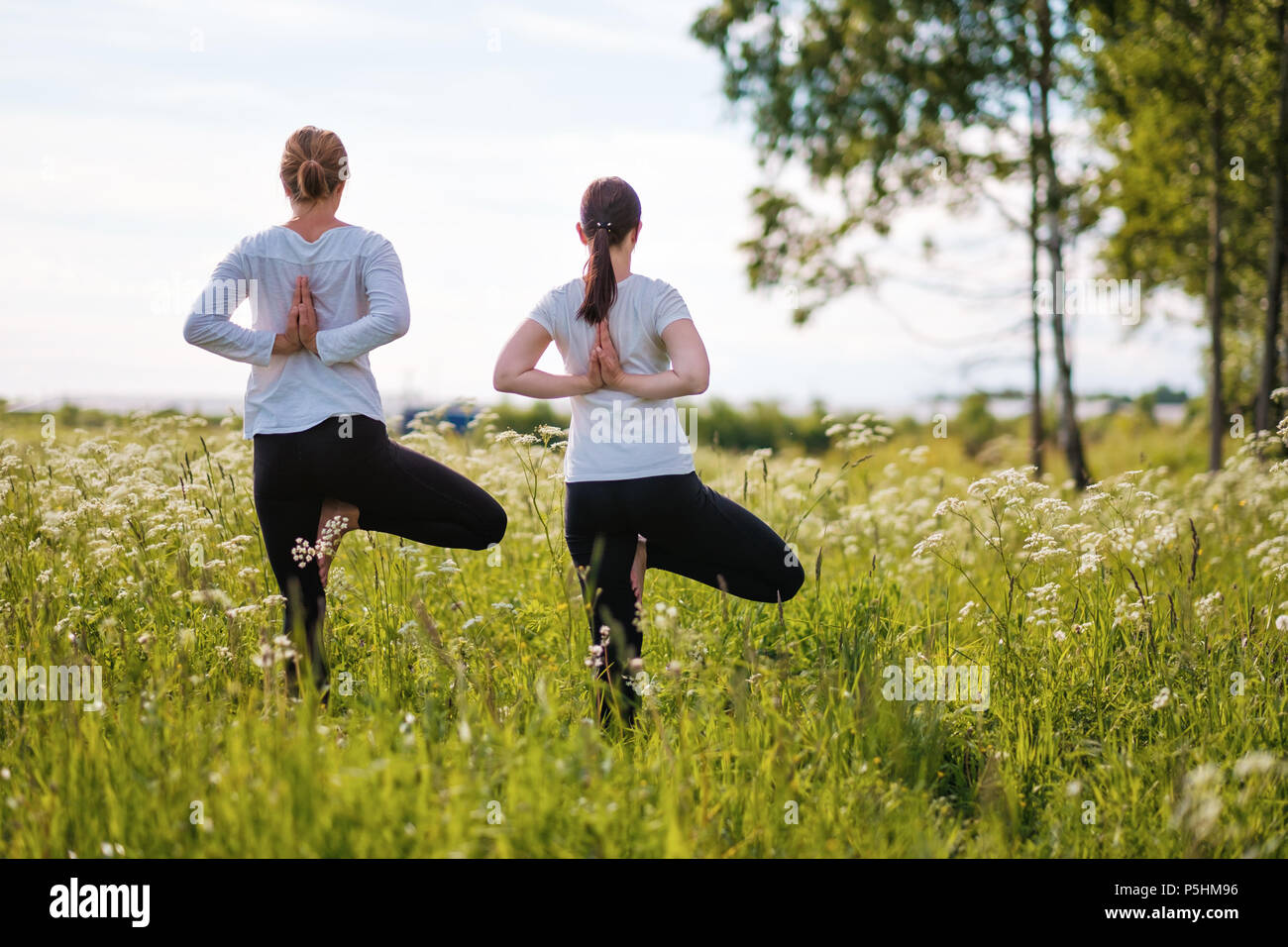 Two women le doing yoga exercises, standing on one leg at outdoors in nature park. Stock Photo