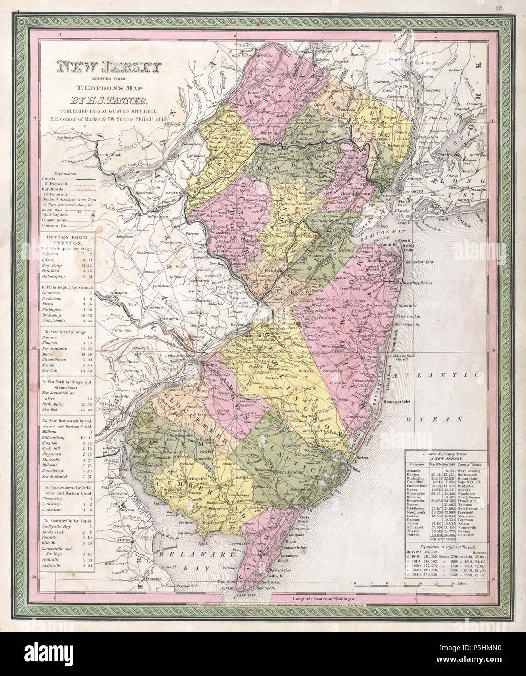 1846 Mitchell - Tanner Map of New Jersey - Geographicus - NewJersey-mitchell-1848. - Stock Image