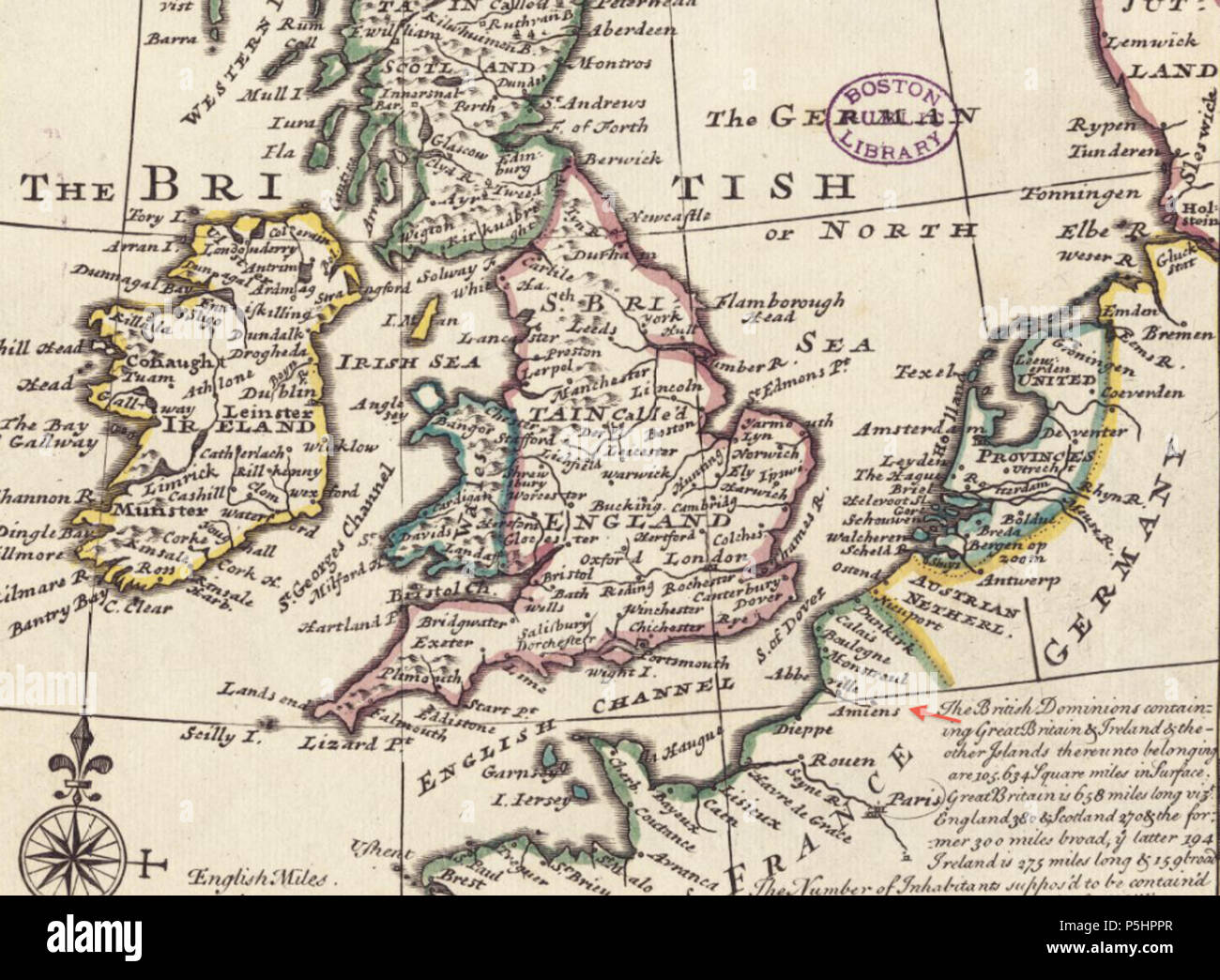 Map Of Holland And Germany.21 1732 Amiens Detail Of General Map Of Great Britain And Ireland