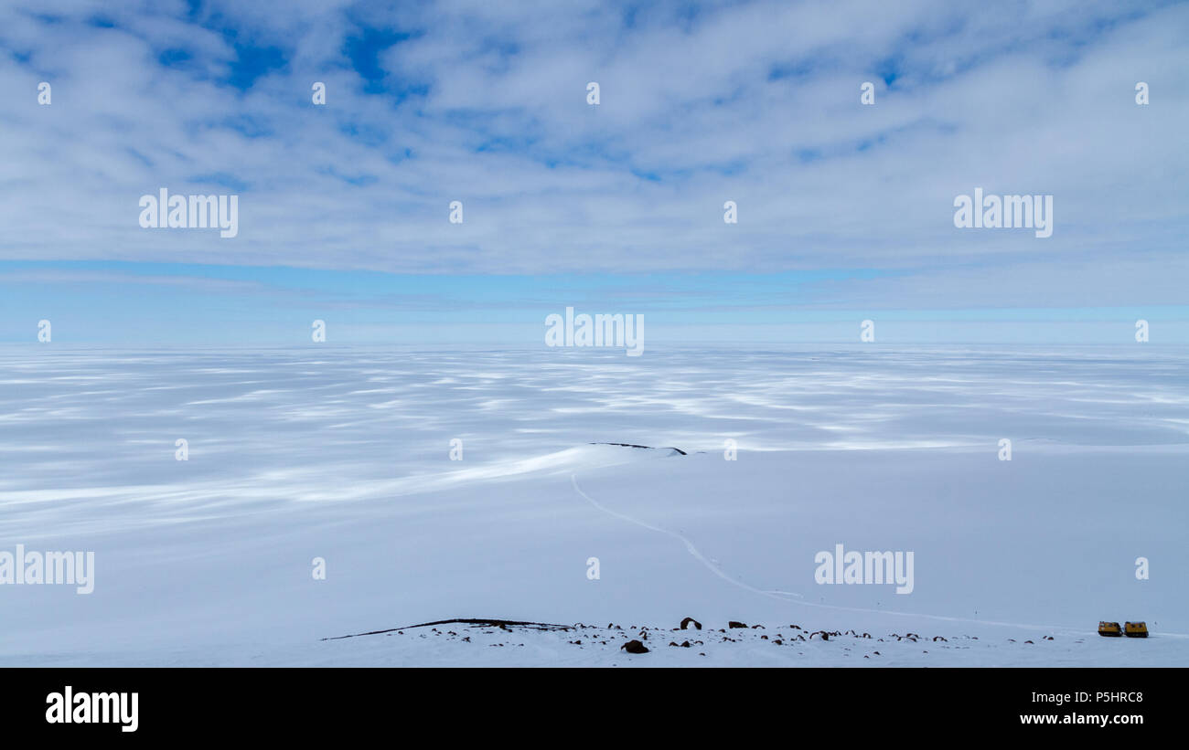 Hagglunds with vast landscape of Antarctica - Stock Image