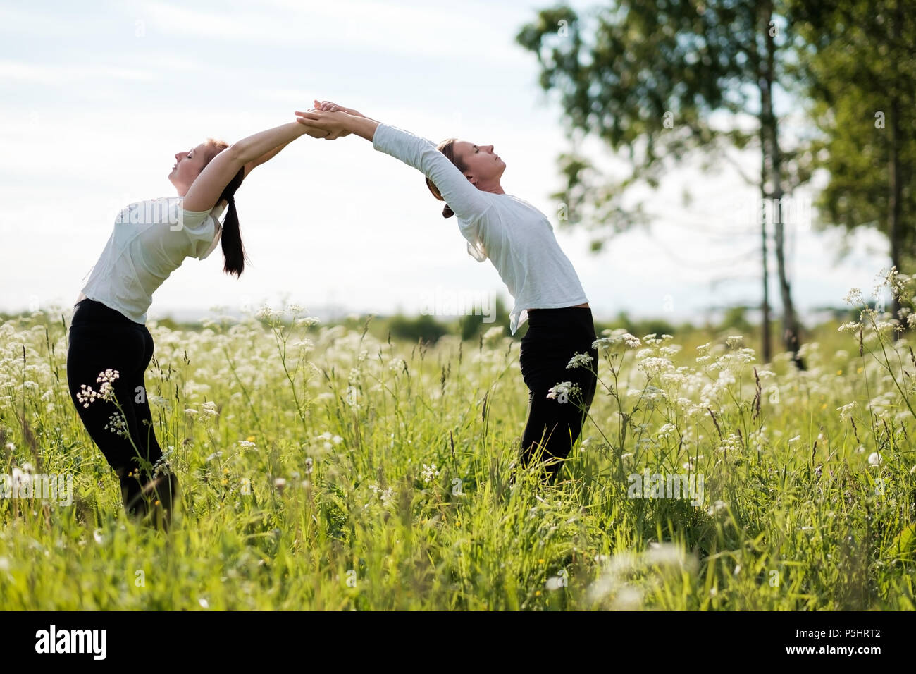 Two women le doing yoga exercises, standing bending to each other at outdoors in nature park. - Stock Image
