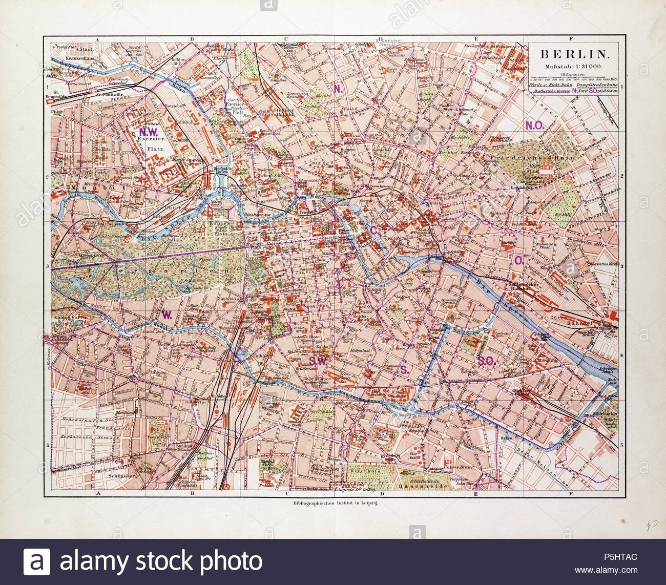 Map Of Berlin Germany 1899 Stock Photo 209989988 Alamy