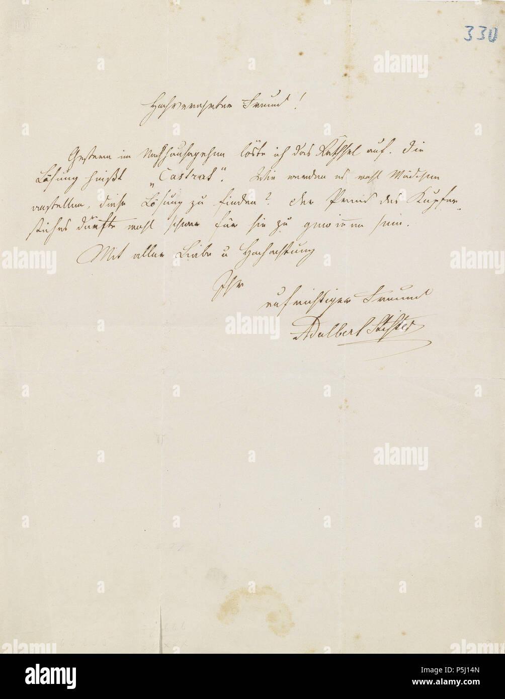 Na Adalbert Stifter Brief Ohne Ort Und Datum An Einen Freund