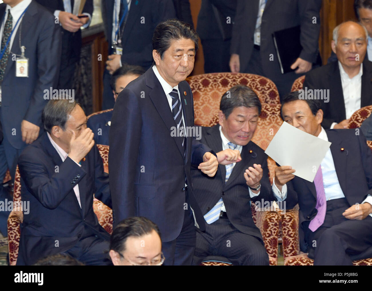 Tokyo, Japan. 27th June, 2018. Japan Prime Minister Shinzo Abe attends a Diet question time of the Joint Review Board of the Committee on Fundamental National Policies in Tokyo on Wednesday, June 27, 2018. Credit: Natsuki Sakai/AFLO/Alamy Live News - Stock Image