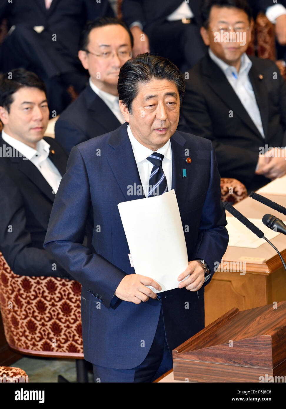 Tokyo, Japan. 27th June, 2018. Japan Prime Minister Shinzo Abe answers Yukio Edano, leader of the Constitutional Democratic Party of Japan, during a Diet question time of the Joint Review Board of the Committee on Fundamental National Policies in Tokyo on Wednesday, June 27, 2018. Credit: Natsuki Sakai/AFLO/Alamy Live News - Stock Image