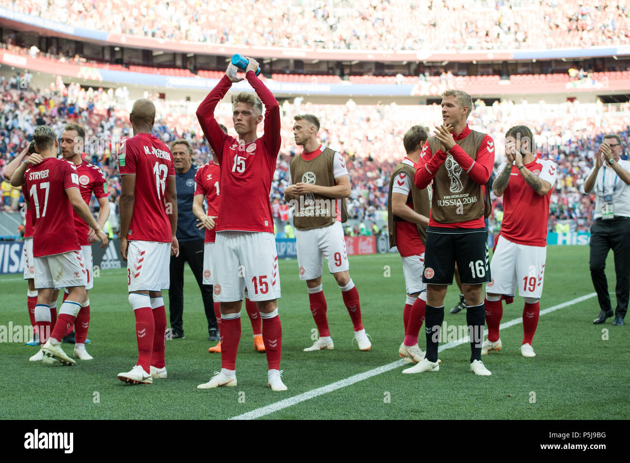 b90fc775c Moscow, Russland. 26th June, 2018. The Danish players are happy with their