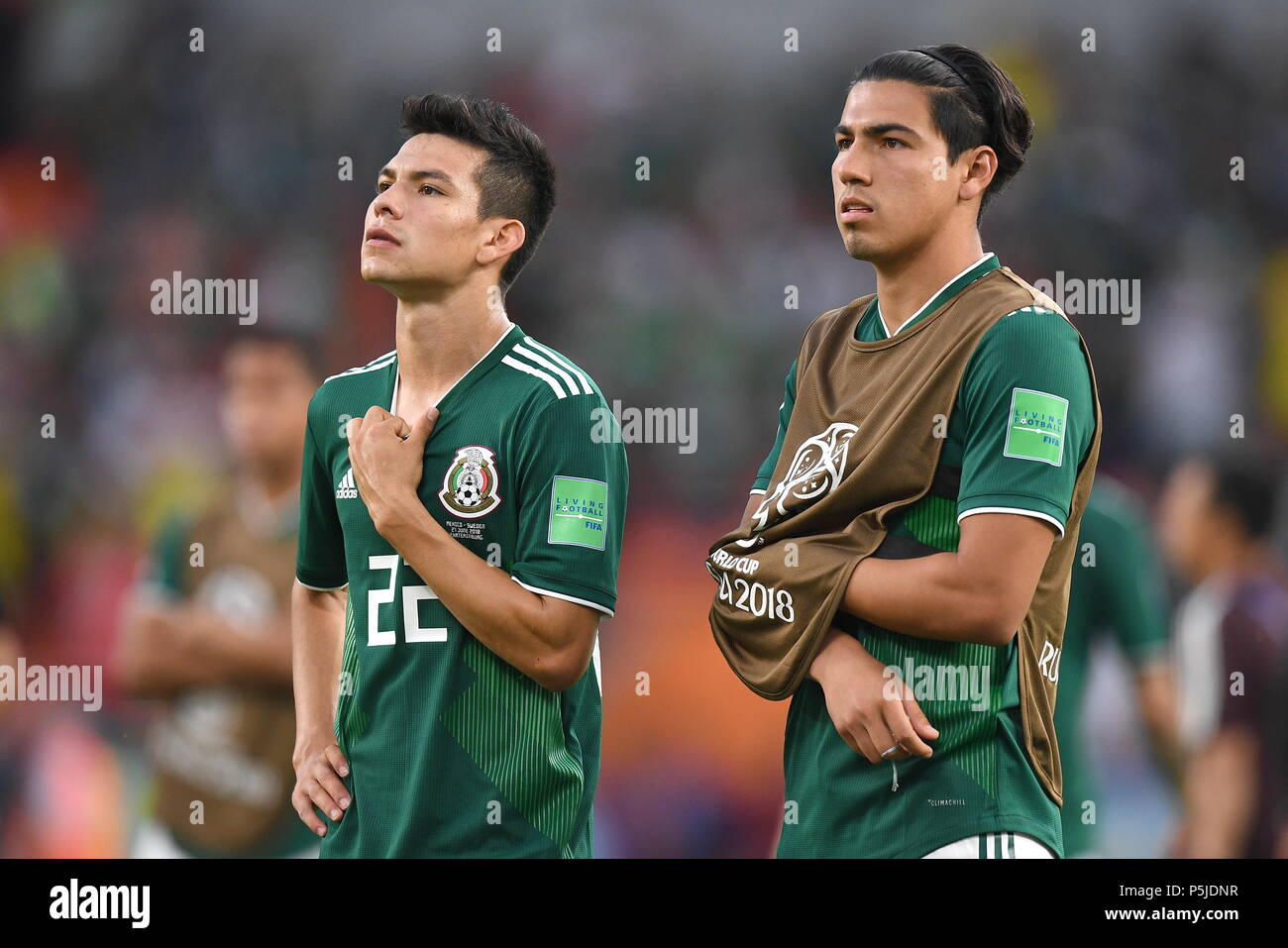 Yekaterinburg, Russia. 27th June, 2018. Mexico's Hirving Lozano (L) and Erick Gutierrez after losing the 2018 FIFA World Cup First Stage Group F football match against Sweden at Ekaterinburg Arena Stadium. Donat Sorokin/TASS Credit: ITAR-TASS News Agency/Alamy Live News - Stock Image