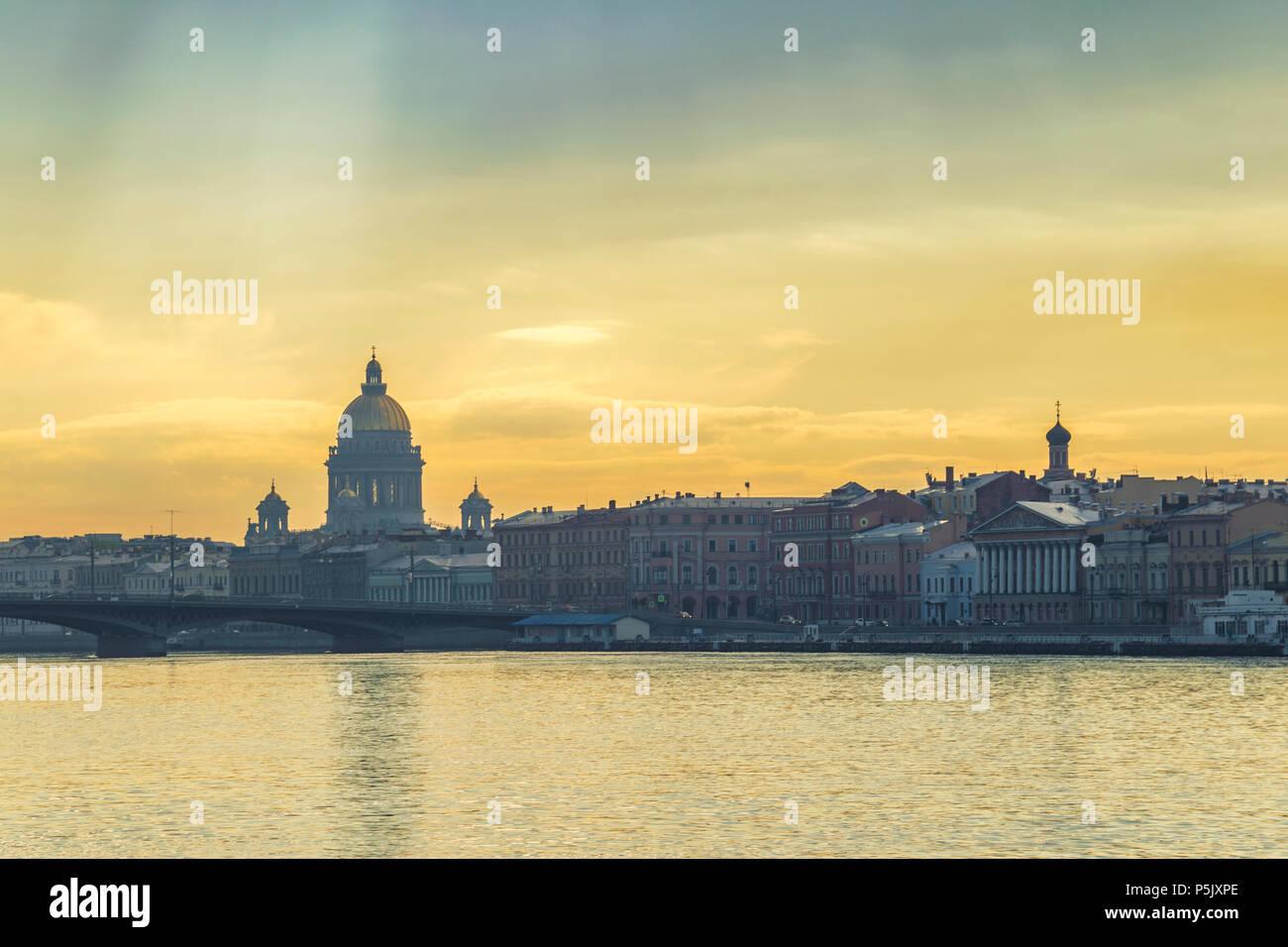 Saint Petersburg city skyline at Saint Isaac Cathedral, Saint Petersburg, Russia - Stock Image