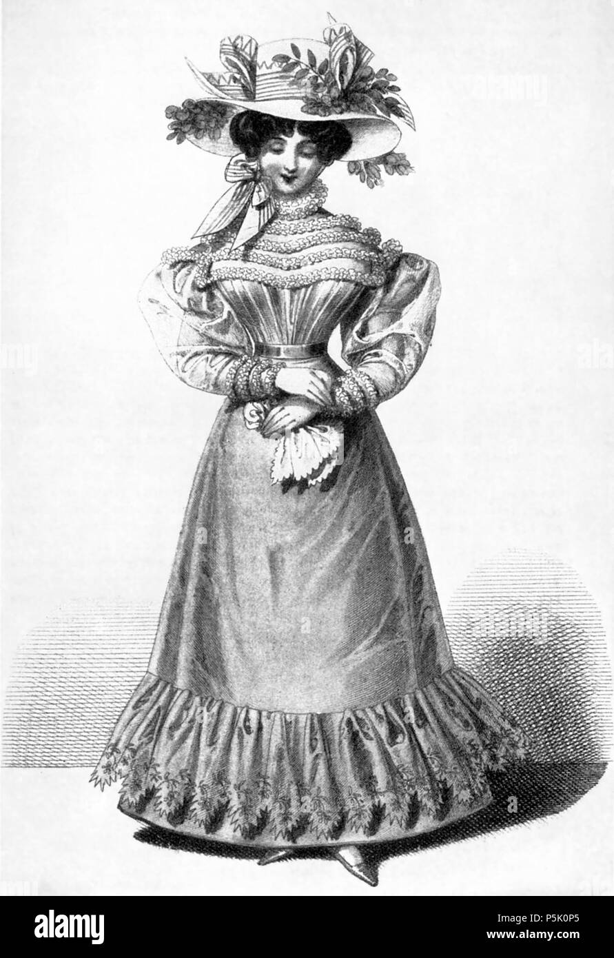 N/A. Illustration of women's outfit (some kind of day dress) from Vienna fashion magazine. Shows the trend towards recorseting in the second half of the 1820s, after the less structured styles of the empire/regency period, as well as the trends leading towards the salad-plate hat of the late 1820s / early 1830s. June 1826. unknown 1826 artist 28 1826JuniWienerModen - Stock Image