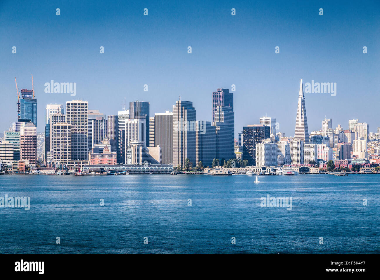 Classic panoramic view of San Francisco skyline on a beautiful sunny day with blue sky in summer, San Francisco Bay Area, California, USA - Stock Image