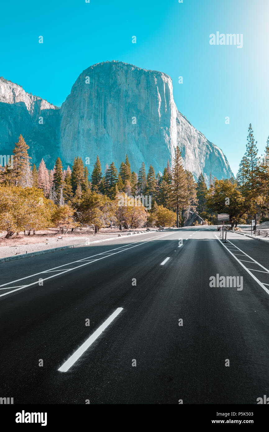 Famous El Capitan mountain peak with road running through Yosemite Valley in beautiful golden morning light at sunrise in summer, California, USA Stock Photo