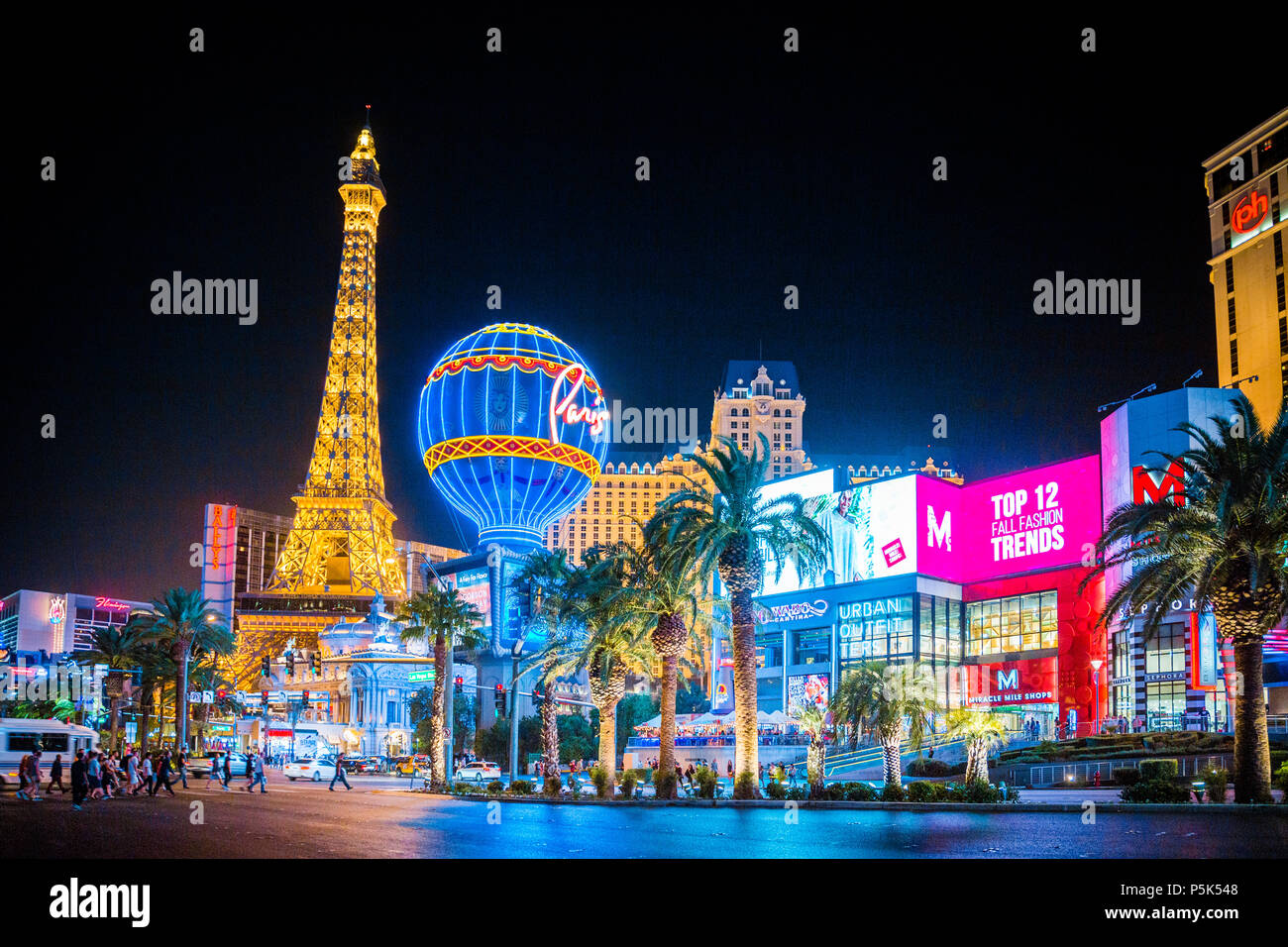 SEPTEMBER 20, 2017 - LAS VEGAS:  Classic panoramic view of colorful Downtown Las Vegas with world famous Strip and Paris Las Vegas hotel complex - Stock Image