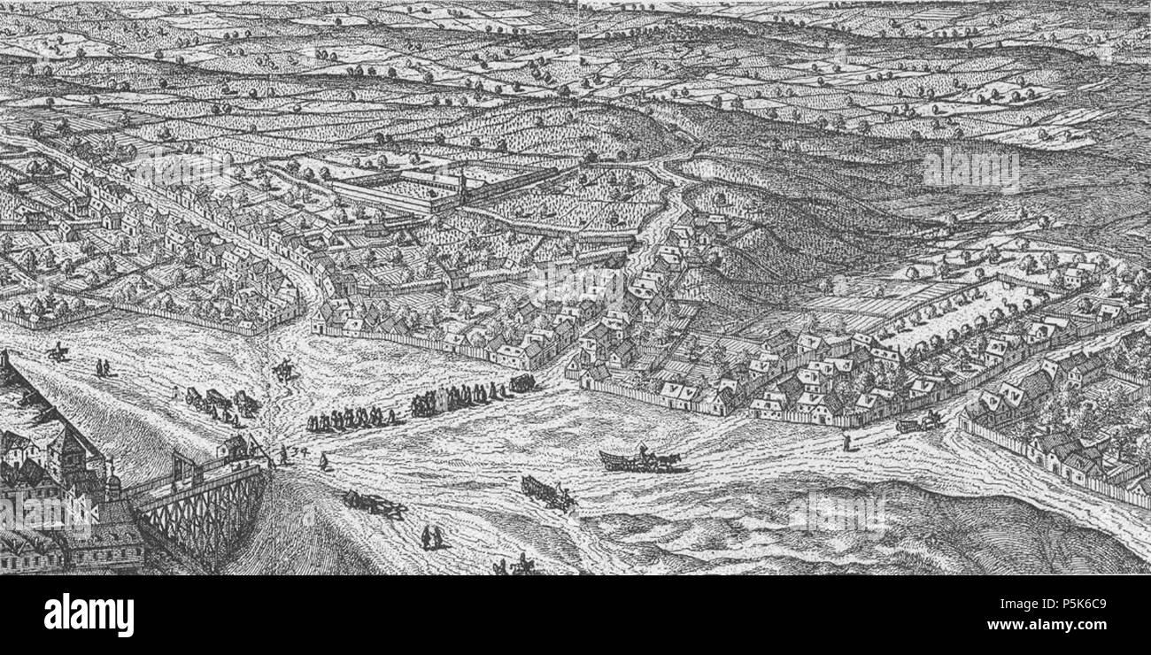 N/A. Deutsch: Vor dem Schottentor 1609. Links die Alservorstadt mit dem kaiserlichen Gottesacker (Friedhof, heute Hof 8+9 des alten AKH). In der Mitte die Währinger Straße mit dem Abhang des Schottenpoints zur Roßau mit dem bürgerlichen Schießplatz. 1609. Hoefnagel 88 Alsergrund 1609 Stock Photo