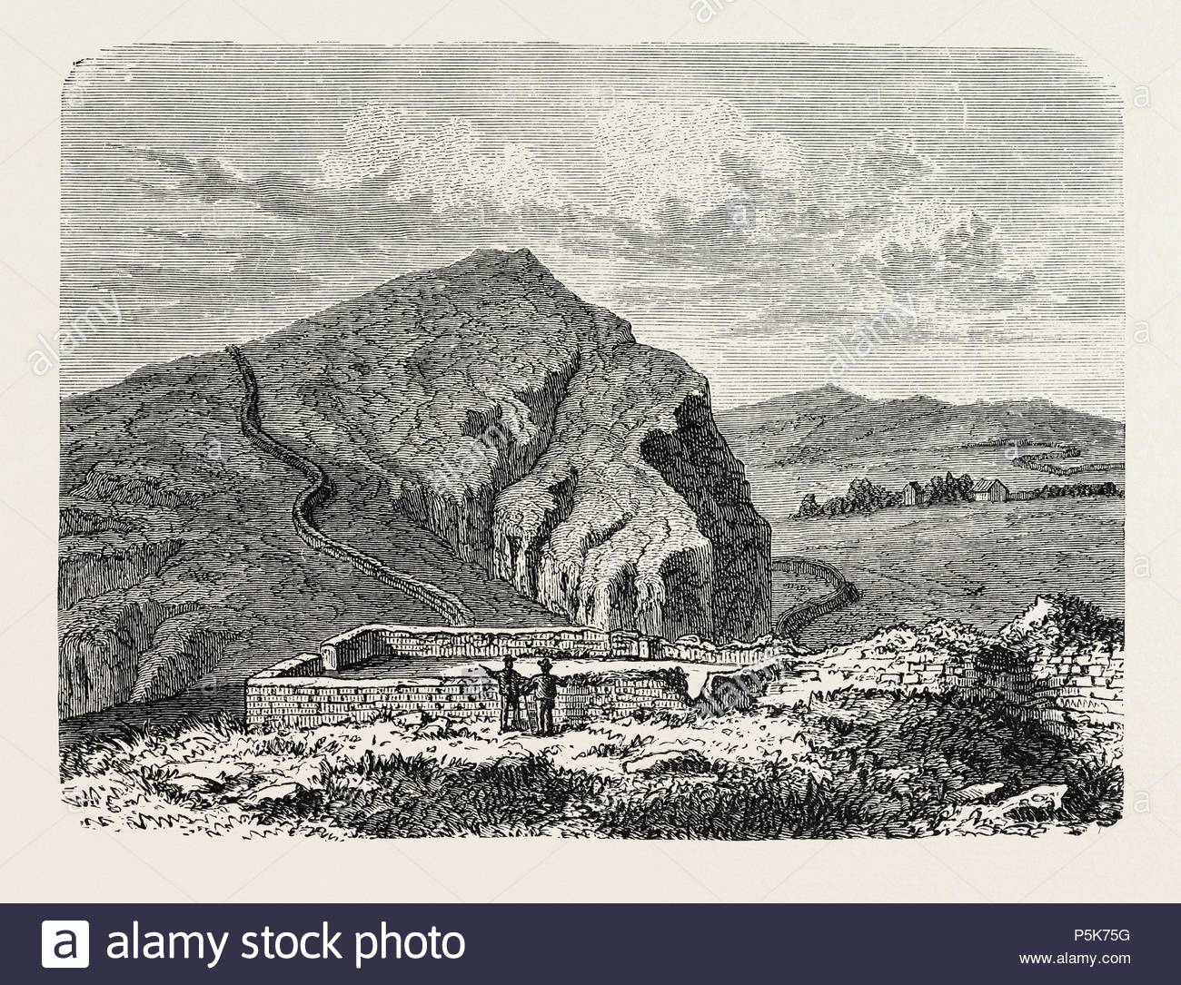 THE ROMANS IN BRITAIN : REMAINS OF THE WALL OF SEVERUS. - Stock Image