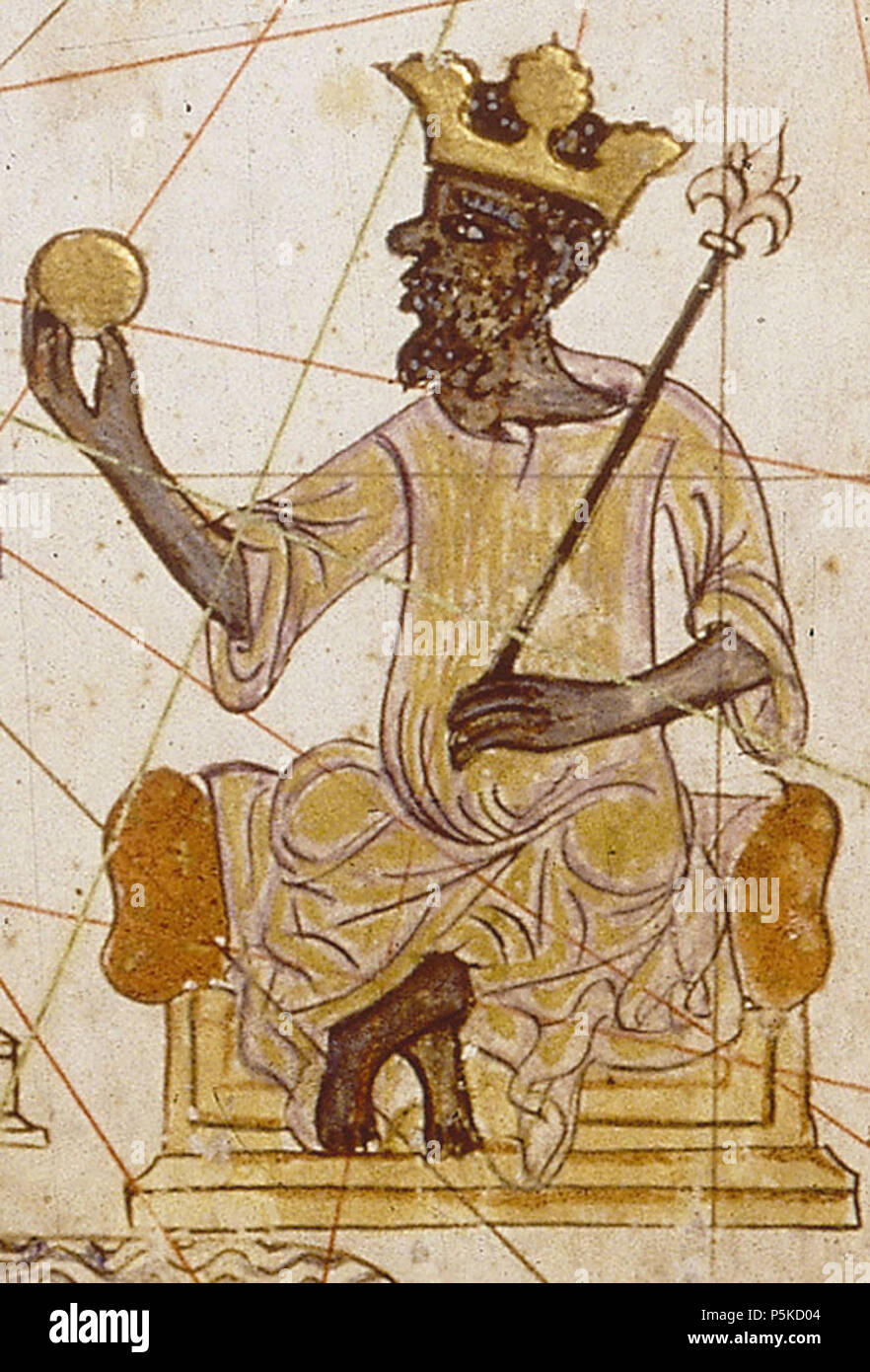 N/A. English: Image of an Saracen king of West Africa, believed to be Mansa Musa, Emperor of Mali. From the Catalan Atlas of 1375, composed by cartographer Abraham Cresques of Majorca. 1375. attrib. Abraham Cresques 65 African king from Catalan Atlas (1375) Stock Photo