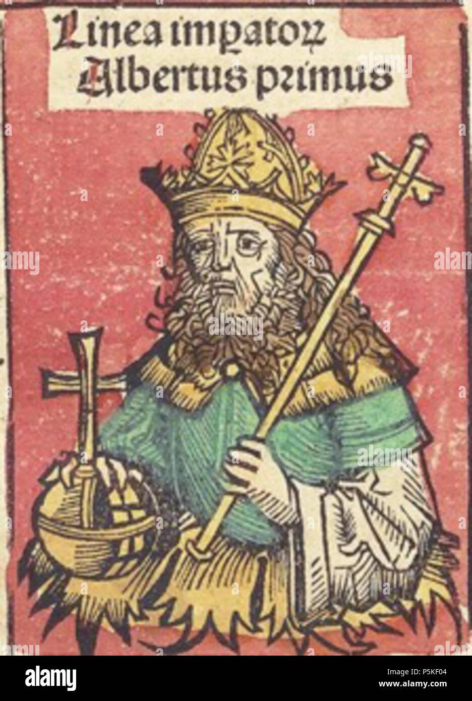 N/A. eština: Albrecht I. habsburský . 1493. Text: Hartmann Schedel; Illustrations: Michel Wolgemut, Wilhelm Pleydenwurff 75 Albrecht1 1493 - Stock Image