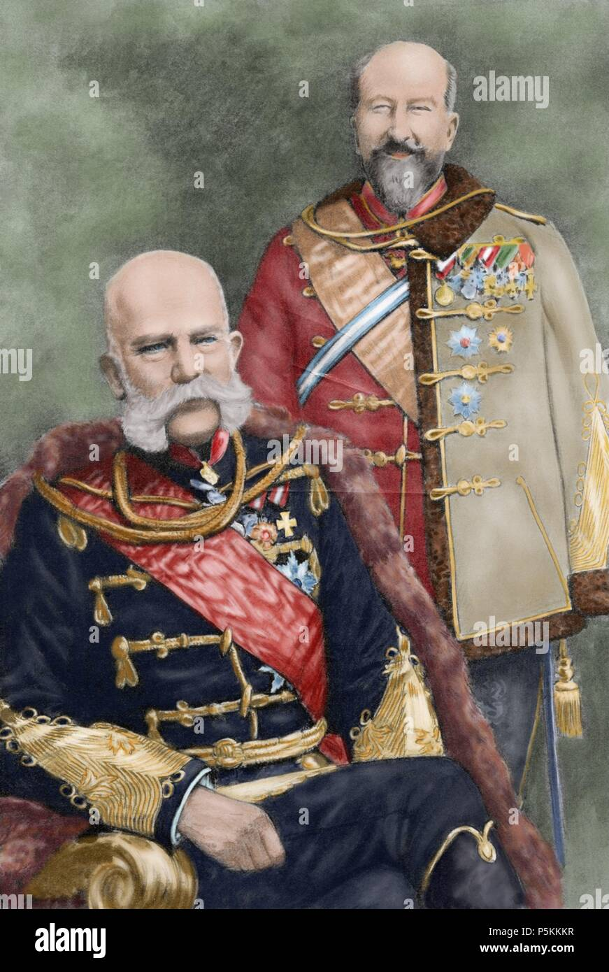 Franz Joseph I of Austria (1830-1916). Emperor of Austria and King of Hungary and Ferdinand I of Austria (1861-1948).  Emperor of Austria. Photograph, 1908. Colored. - Stock Image