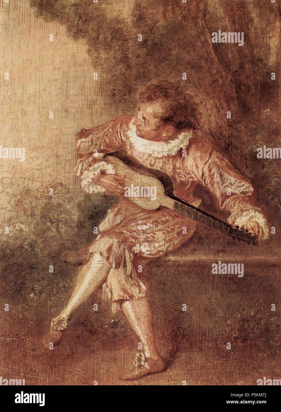 Deutsch: Die Serenate Français: Le donneur de sérénades (Mezetin)  circa 1715. N/A 110 Antoine Watteau 031 - Stock Image
