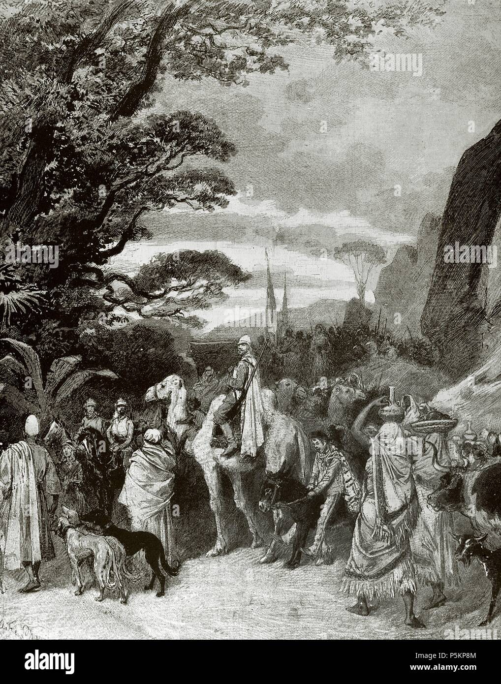 Adolphe Belot (1829-1890). French dramatist and novelist. La Venus Noire: Voyage Dans l'Afrique Central (The Black Venus: Journey to Central Africa). The Caravan. Engraving in The Spanish and American Illustration, 1879. - Stock Image