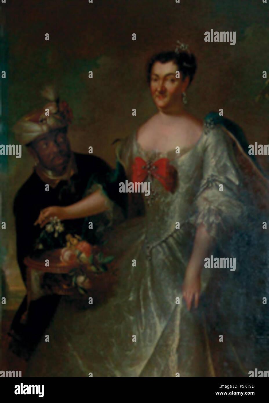 N/A. Deutsch: 'Fürstin Elisabeth Albertine mit Mohren'; Elisabeth Albertine von Anhalt-Bernburg (1693-1774), Fürstin von Schwarzburg-Sondershausen . 1734. Rymer Nickele 128 Arnstadt elisabeth - Stock Image
