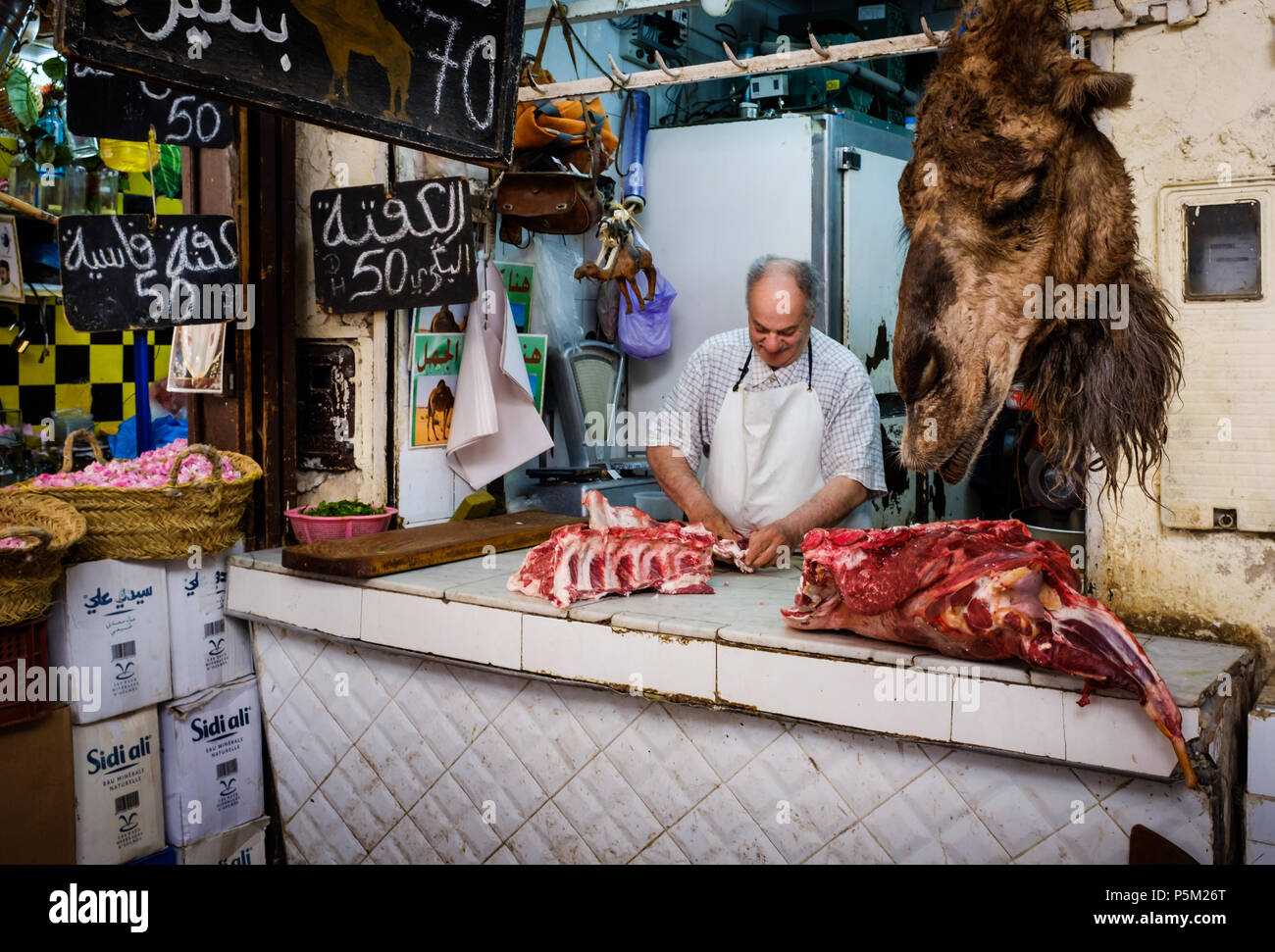 FEZ, MOROCCO - CIRCA APRIL 2017:  Portrait of Moroccan meat seller at the Medina in Fez - Stock Image