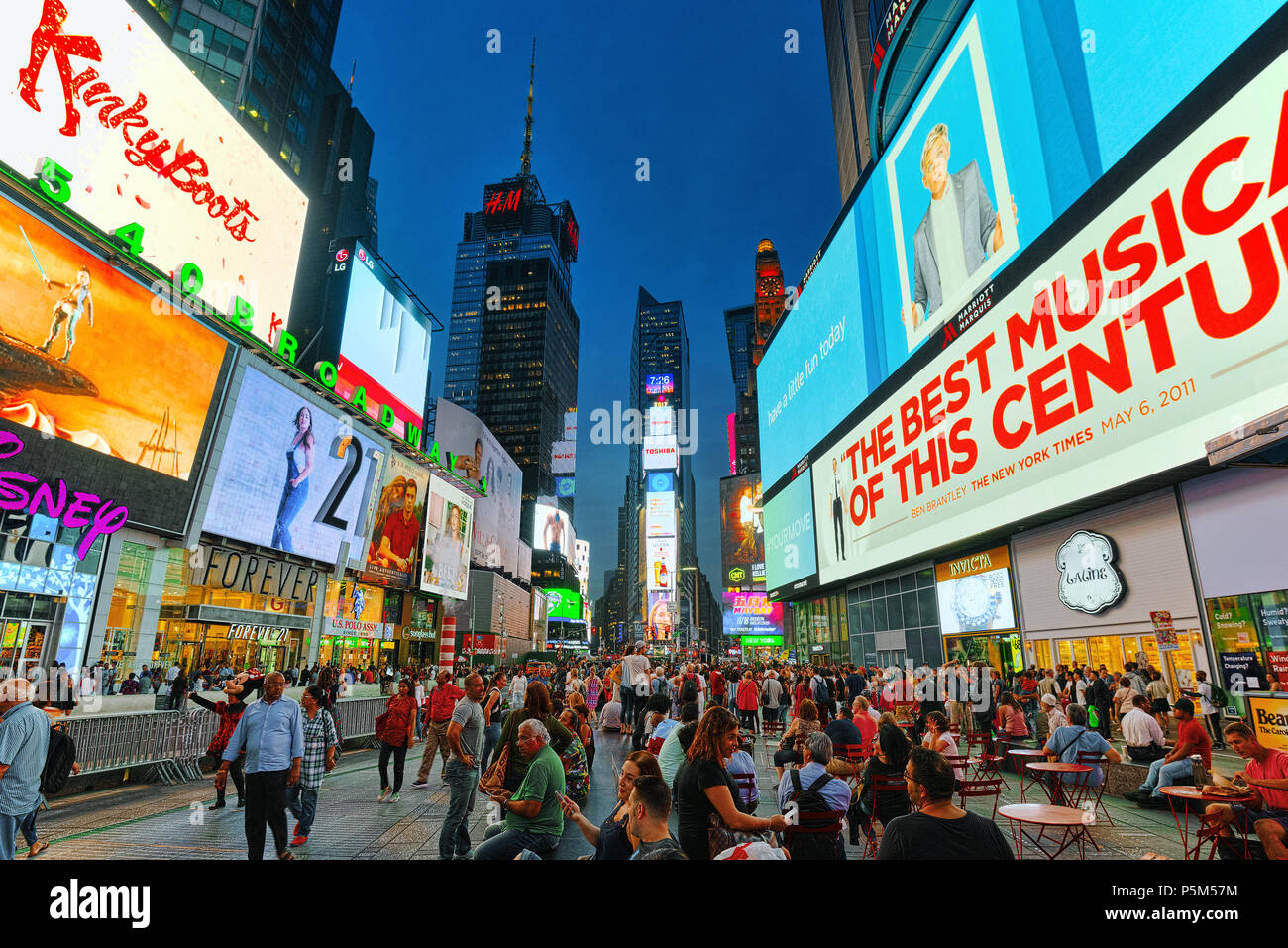New York, USA- September 06, 2017 : Night view of Times Square-central and main square of New York. Street, cars, people and tourists on it. - Stock Image