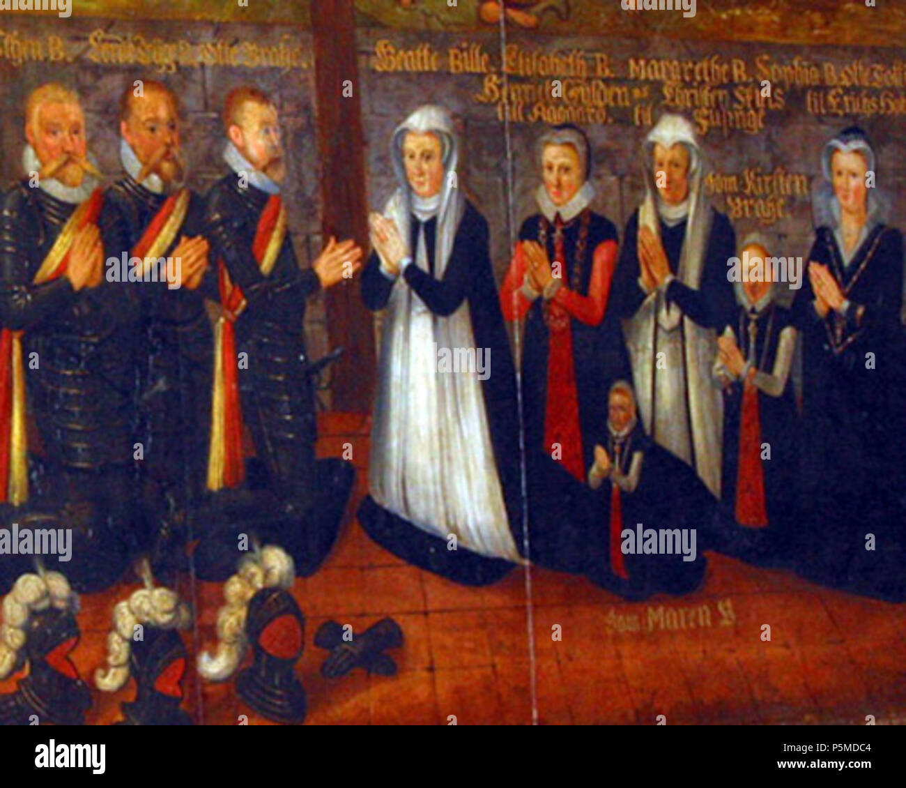 N/A. English: The Bille and Brahe noble families of Denmark. Privy councillor (riksråd) Otte Tygesen Brahe (father of Tycho Brahe) and mistress of the robes (hofmesterinde) Beate Clausdatter Bille (mother of Tycho), with family . 1613. Unknown 204 Bille and Brahe family - Stock Image