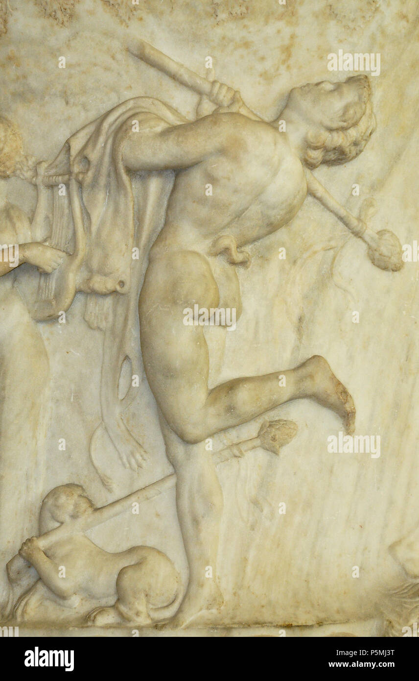 N/A.  English: Dancing satyr wearing a pardalis and holding a thyrsus in the right hand and a Panther fur-skin in the left hand; below a panther holding a thyrsus. Detail of the side A from the Borghese Vase. Attic work. Found in 1569 in the Horti Sallustiani, Rome. Français: Satyre dansant portant une pardalide et un thyrse; détail de la face A du Vase Borghèse. Œuvre attique. Decouvert en 1569 dans les Jardins de Salluste à Rome. . between circa 40 and circa 30 BC. N/A 224 Borghese Vase Louvre Ma86 n4 Stock Photo