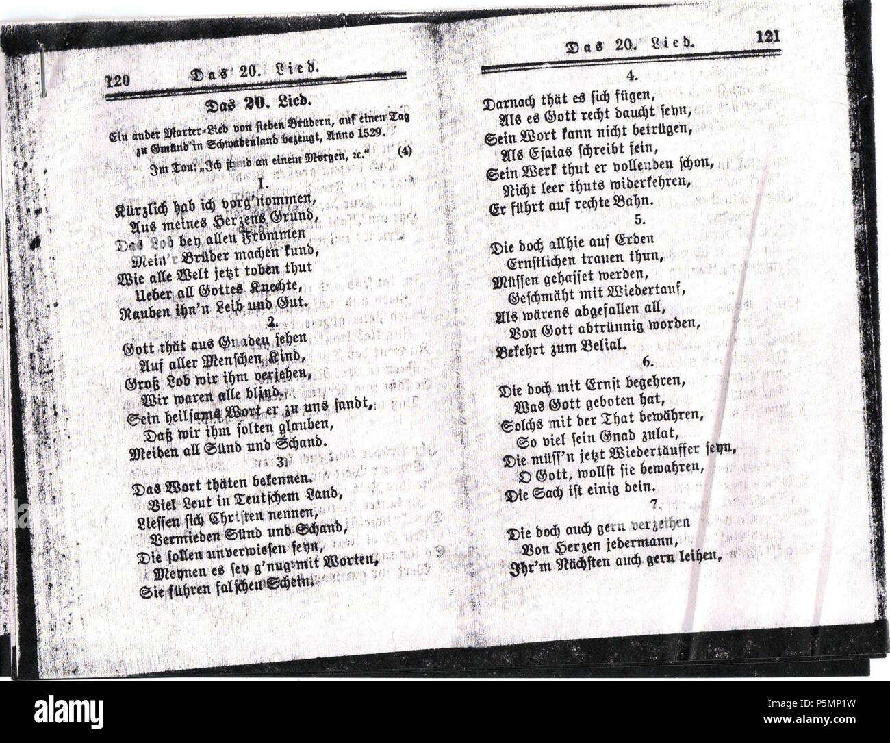 70c7fda2fb5 N A. Ausbund das ist  Etliche schöne Christliche Lieder  .