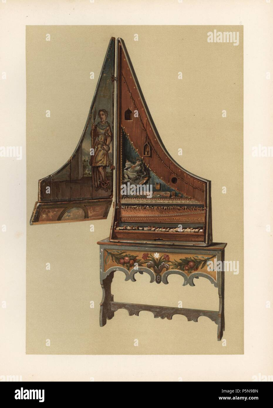 Clavicytherium or upright spinnet formely owned by Count Correr of Venice. Probably of Italian or German manufacture from circa 1500. Chromolithograph from an illustration by William Gibb from A.J. Hipkins' 'Musical Instruments, Historic, Rare and Unique,' Adam and Charles Black, Edinburgh, 1888. Alfred James Hipkins (1826-1903) was an English musicologist who specialized in the history of the pianoforte and other instruments. William Gibb was a master illustrator and chromolithographer and illustrated 'The Royal House of Stuart' (1890), 'Naval and Military Trophies' (1896), and others. - Stock Image