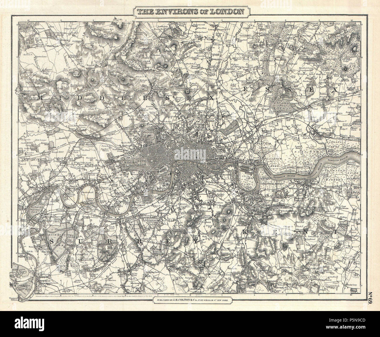 1855 Colton Map of London, England - Geographicus - London-cbl-1855. - Stock Image