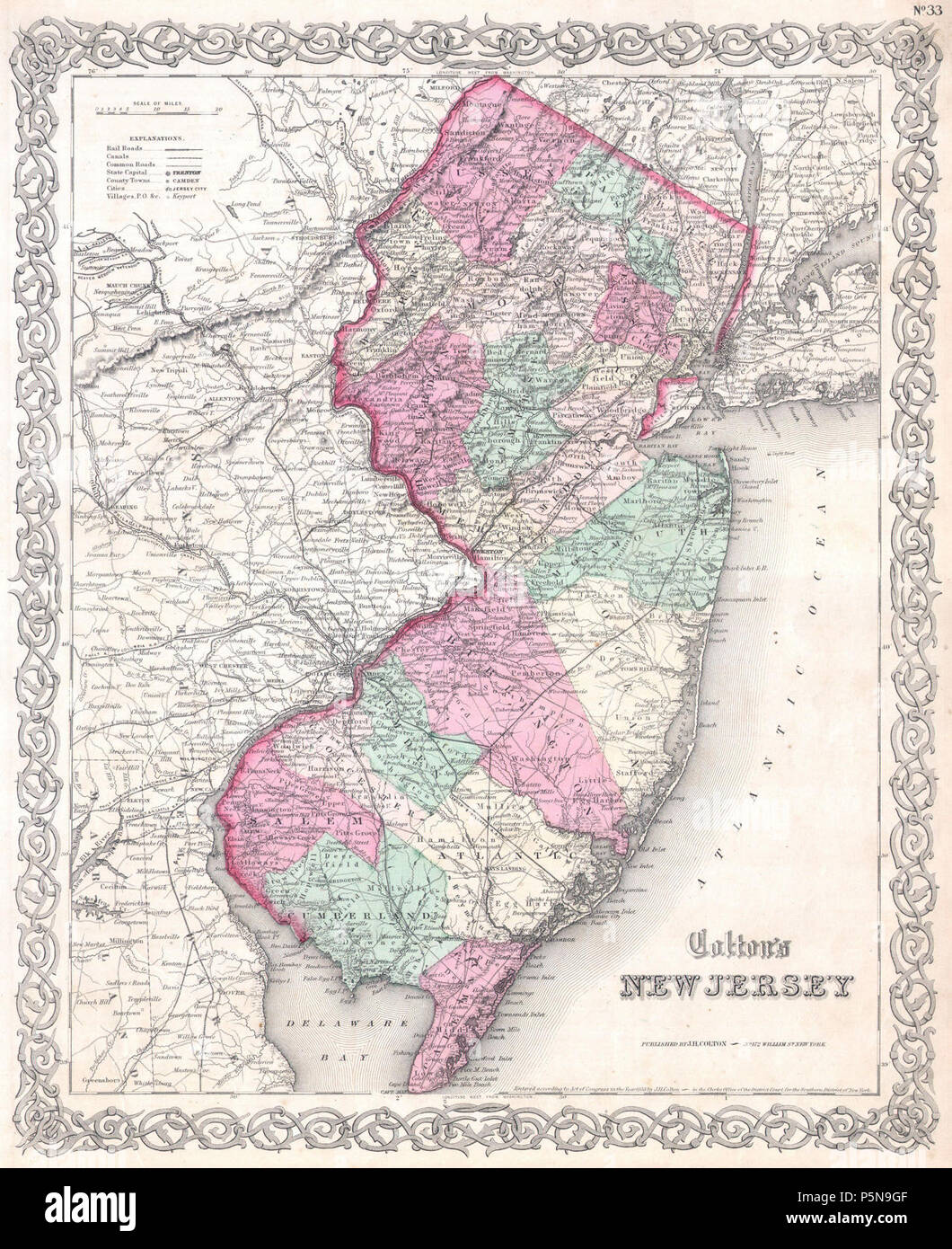 1855 Colton Map of New Jersey - Geographicus - NewJersey-c-1855. - Stock Image