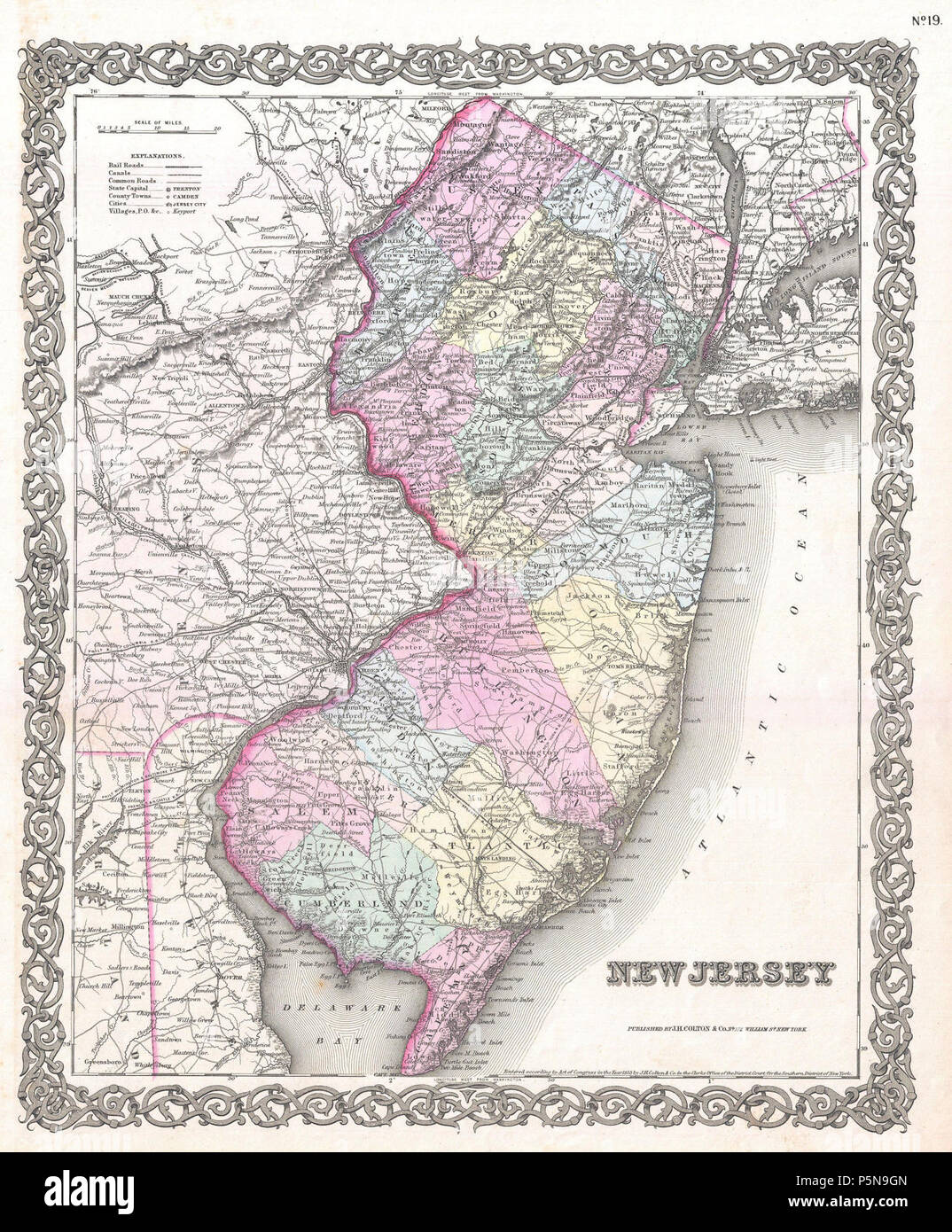1855 Colton Map of New Jersey - Geographicus - NewJersey-colton-1855. - Stock Image