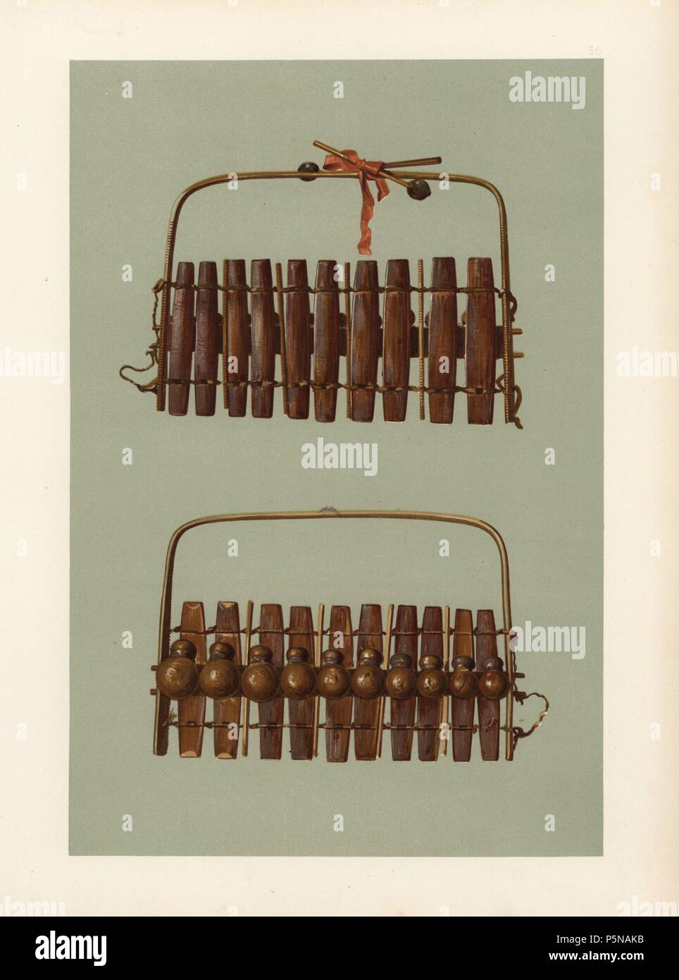 Marimba Or Zulu Harmonicon Of South Africa It Has Ten Bars Each Domestic Electrical Wiring With A Gourd Resonator And Is Played Drumsticks
