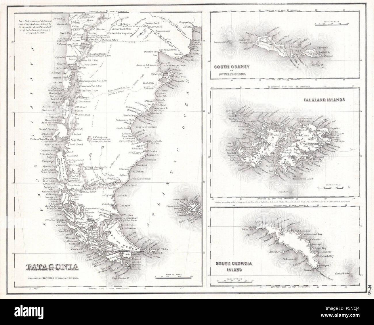 1855 Map of Patagonia, Argentina (Falkland Islands) - Geographicus - Patagonia-cbl-1855. - Stock Image