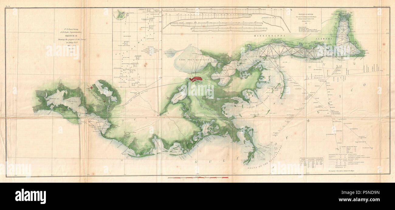 1855 U.S. Coast Survey Map of the Delta of the Mississippi ...