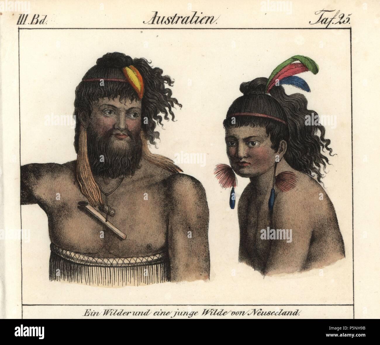 Native Maori men of New Zealand. Handcoloured lithograph from Friedrich Wilhelm Goedsche's 'Vollstaendige Völkergallerie in getreuen Abbildungen' (Complete Gallery of Peoples in True Pictures), Meissen, circa 1835-1840. Goedsche (1785-1863) was a German writer, bookseller and publisher in Meissen. - Stock Image