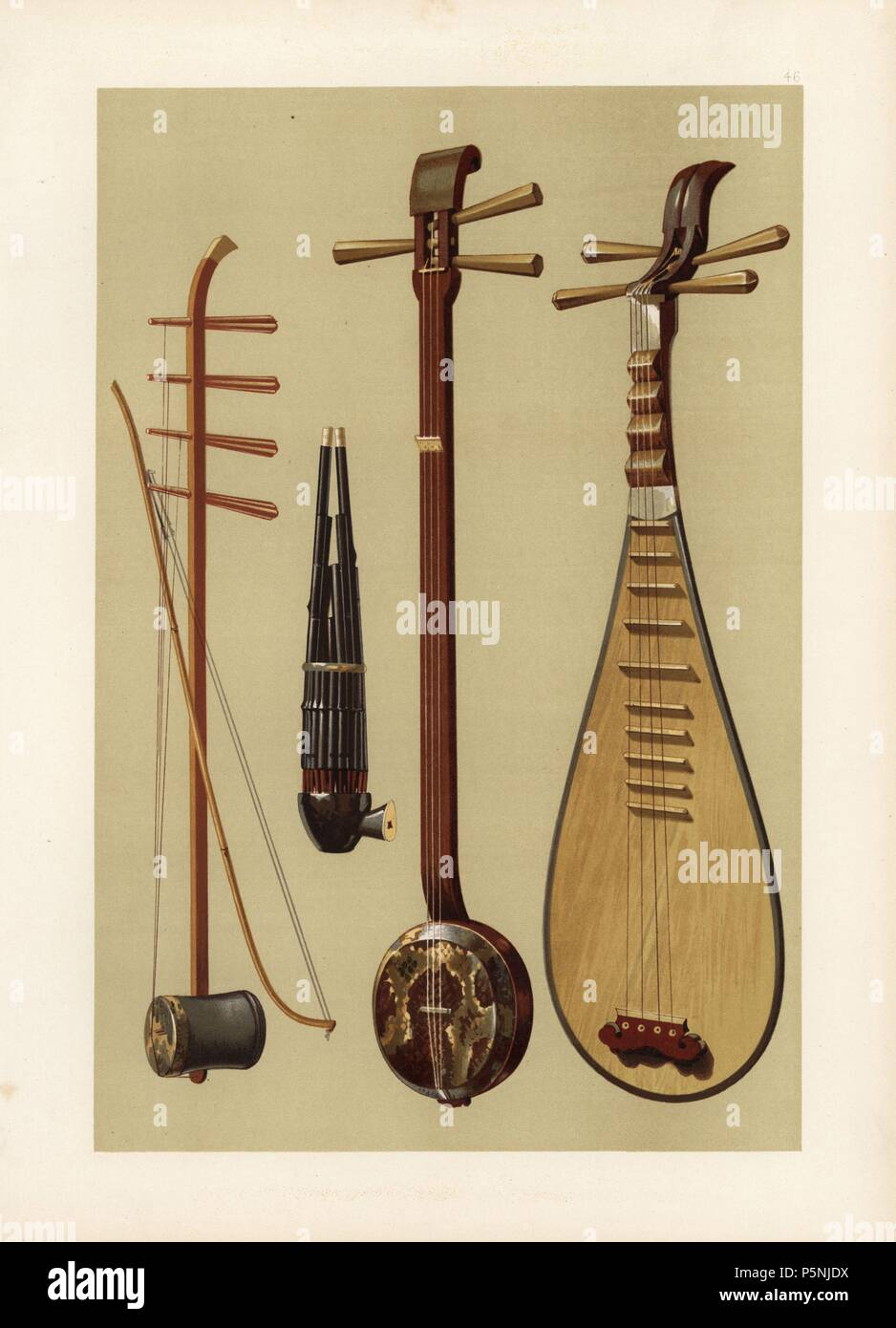 Chinese strings and woodwind: Huch'in (erhu or fiddle), Sheng (reed mouth organ), San-hsien (three-string banjo) and Pipa (balloon guitar or lute). Chromolithograph from an illustration by William Gibb from A.J. Hipkins' 'Musical Instruments, Historic, Rare and Unique,' Adam and Charles Black, Edinburgh, 1888. Alfred James Hipkins (1826-1903) was an English musicologist who specialized in the history of the pianoforte and other instruments. William Gibb was a master illustrator and chromolithographer and illustrated 'The Royal House of Stuart' (1890), 'Naval and Military Trophies' (1896), and  - Stock Image
