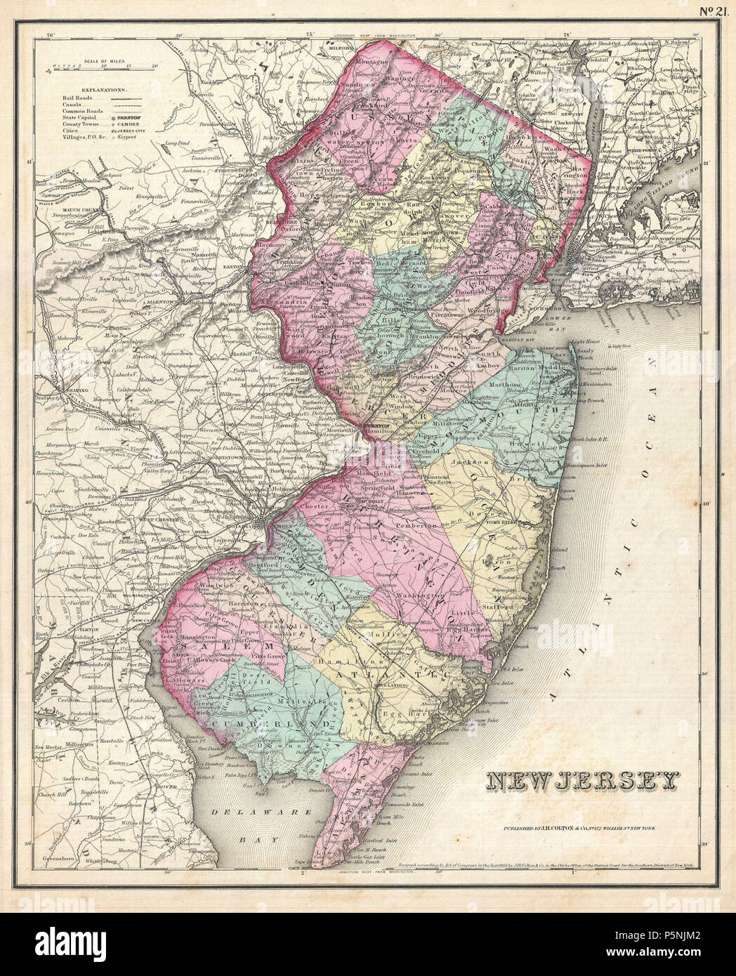 1857 Colton Map of New Jersey - Geographicus - NewJersey-colton-1857. - Stock Image