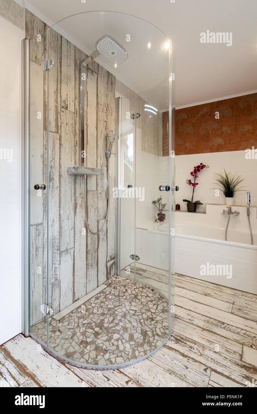 Modern bathroom in vintage style with round glass walk in shower ...