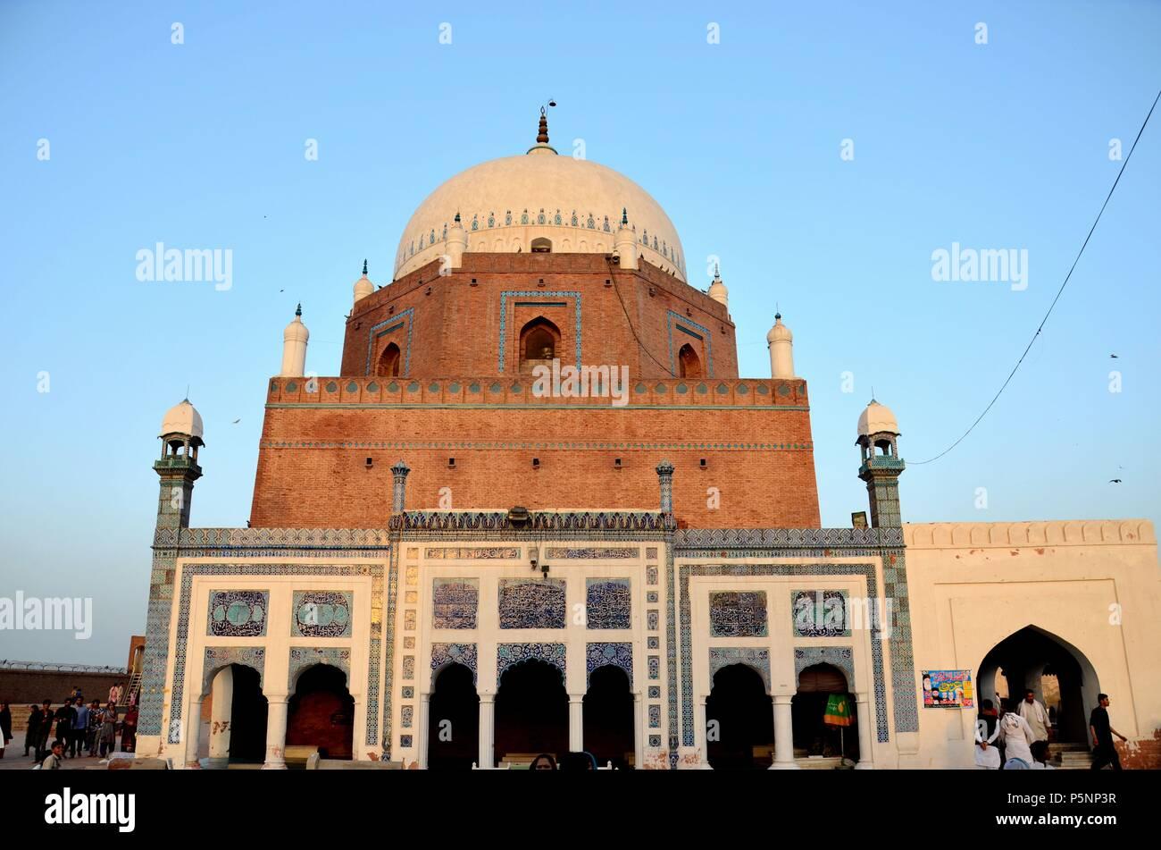 Mausoleum shrine tomb with dome of Sufi saint Pir Sheikh Bahauddin Zakariya Multan City of Saints Pakistan - Stock Image