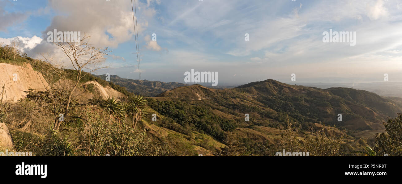 Panorama landscape view in Monteverde reserve cloud forest, Costa Rica - Stock Image