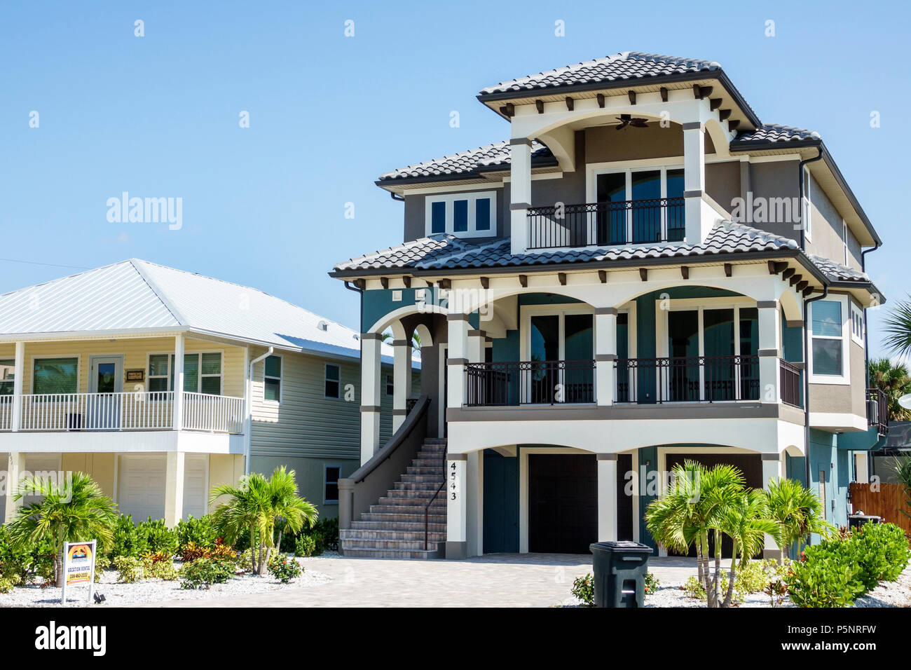 Fort Ft. Myers Florida Beach house home residence beachfront real estate balcony three-story rental - Stock Image