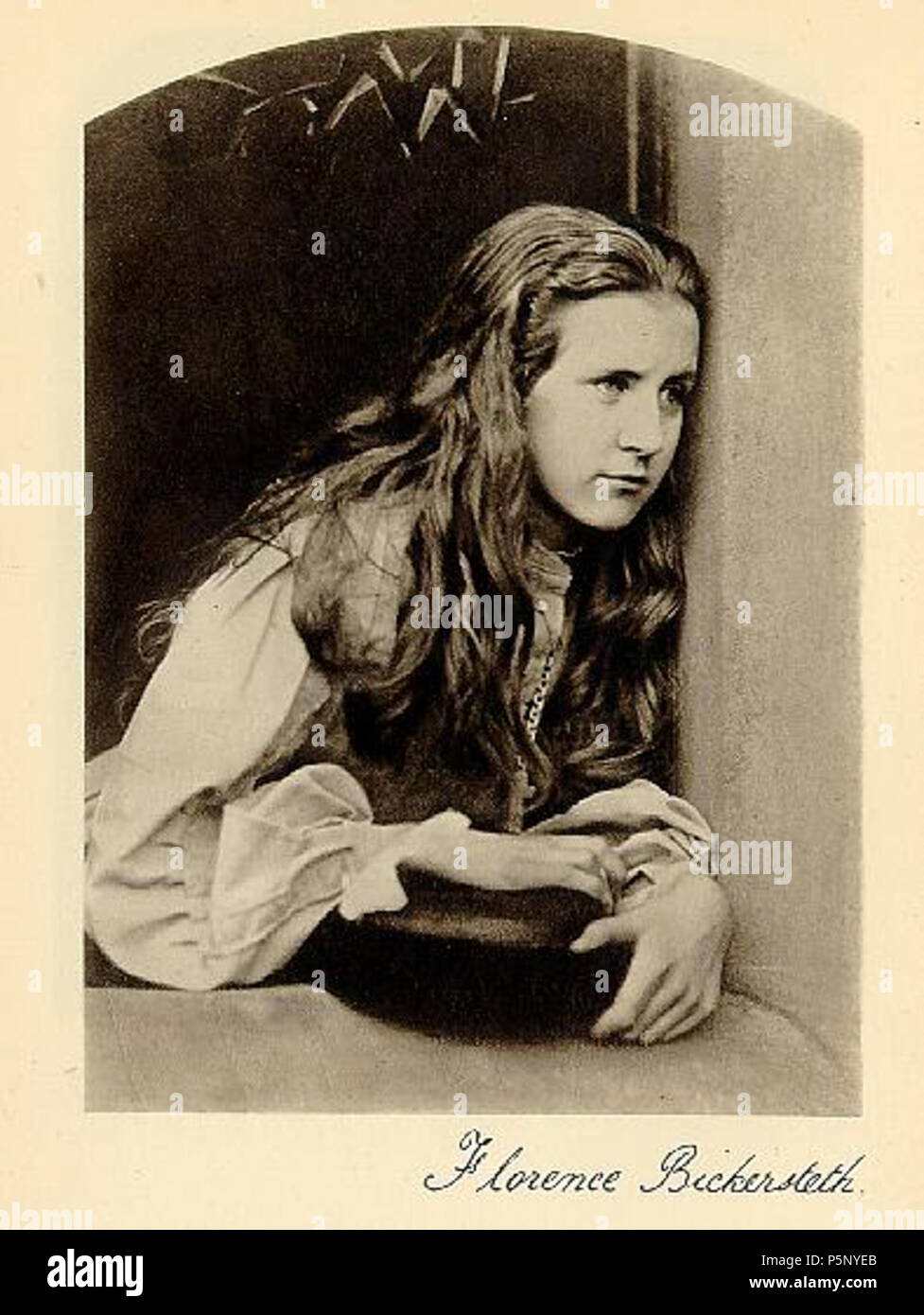N/A. Florence Bickersteth, daughter of the Bishop of Ripon: this was published in either:[1] Lewis Carroll with a text by Graham Ovenden (Masters of photography series). London: McDonald & Queen Anne. 1984, or Lewis Carroll, Photographer by Helmut Gernsheim. London: Max Parrish & Co. 1949. . 7 September 1865.   Lewis Carroll (1832–1898)   Alternative names Charles Lutwidge Dodgson  Description British-English writer, mathematician and photographer  Date of birth/death 27 January 1832 14 January 1898  Location of birth/death Daresbury, Cheshire, England Guildford, Surrey, England  Work p - Stock Image
