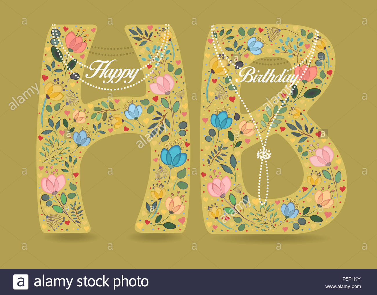 happy birthday yellow letters h and b with folk floral decor graceful watercolor flowers and hearts pearl necklaces with texts as pendants yellow