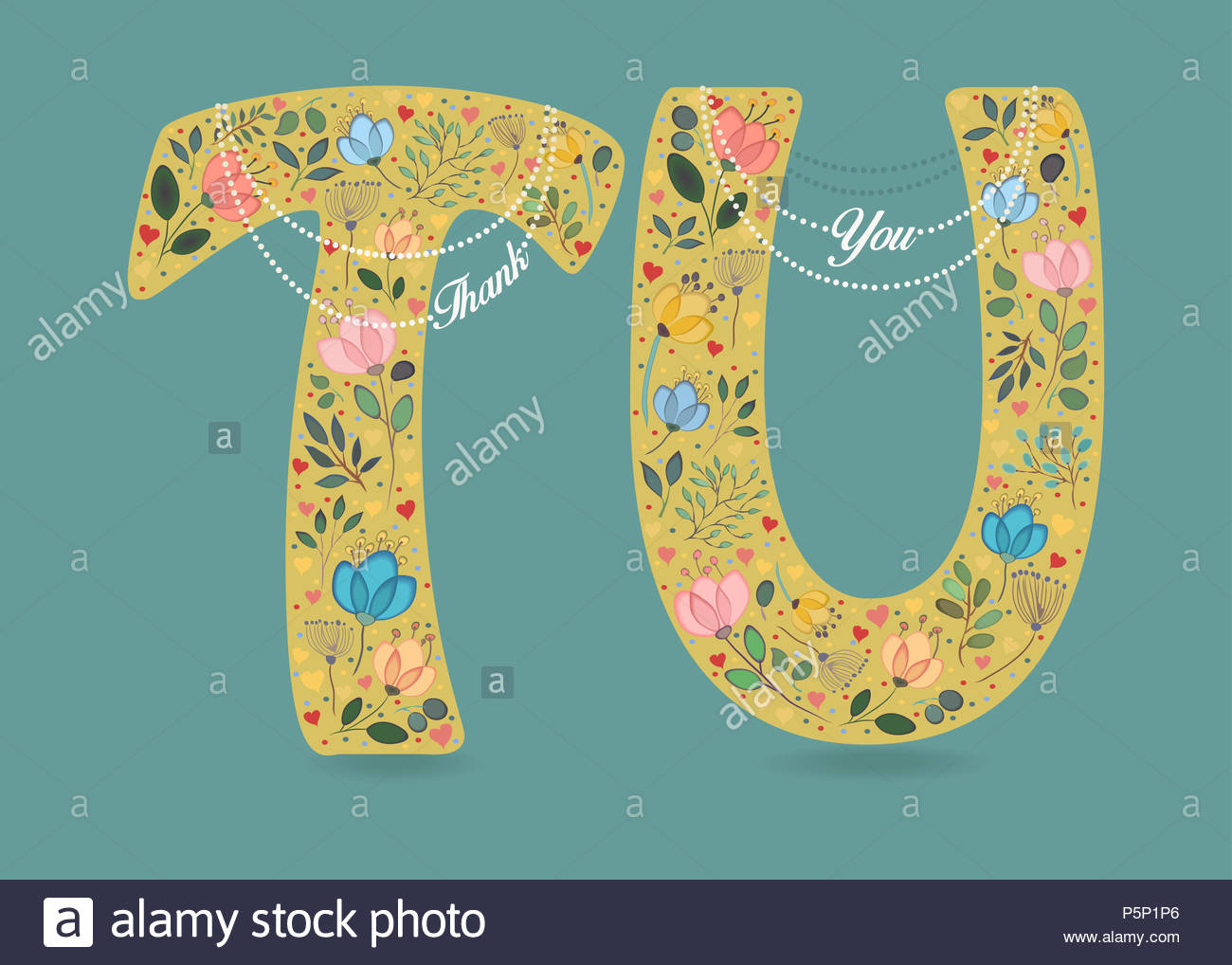 Thank You Yellow Letters T And U With Folk Floral Decor Graceful