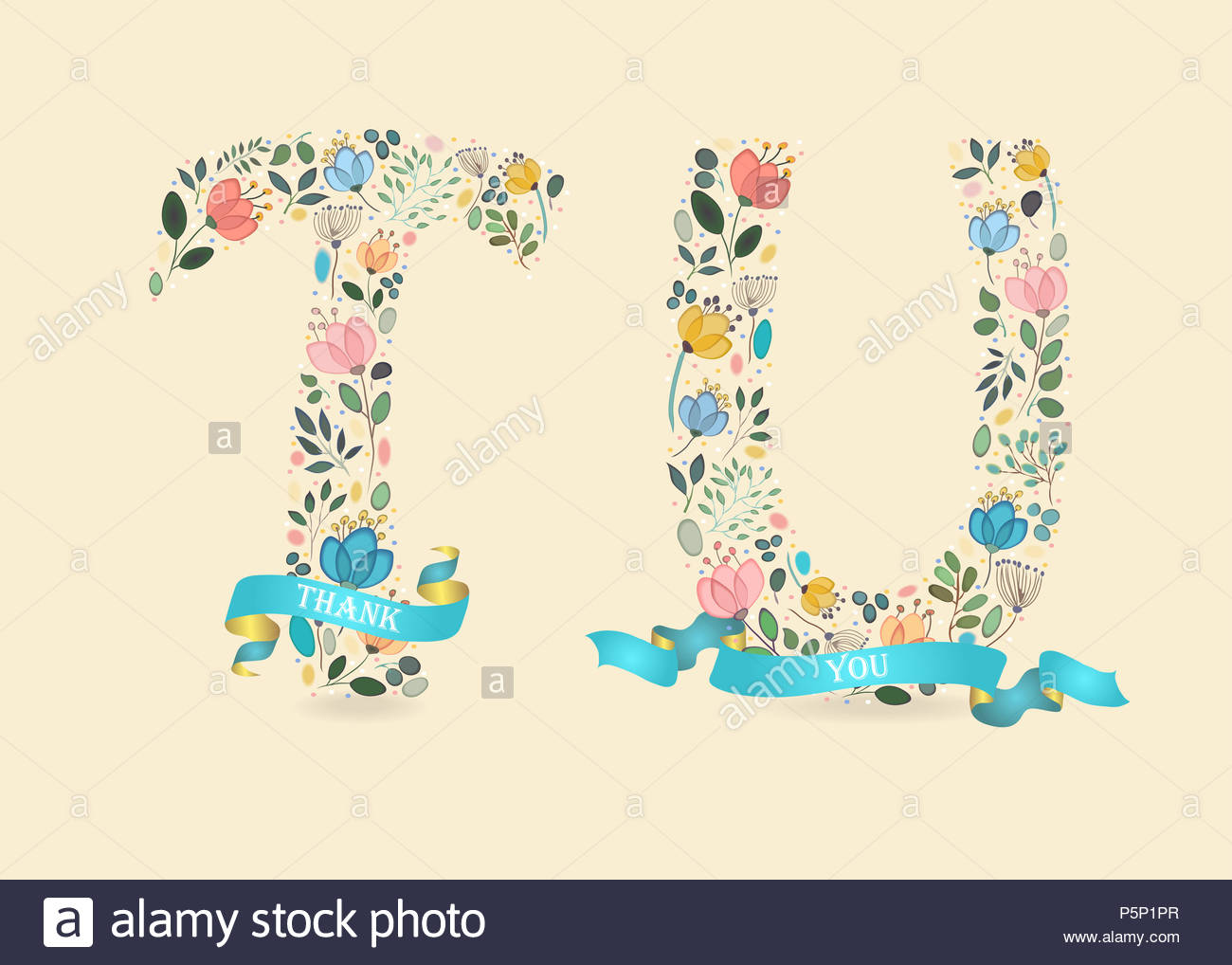 Thank You Floral Letters T And U Watercolor Graceful Flowers And