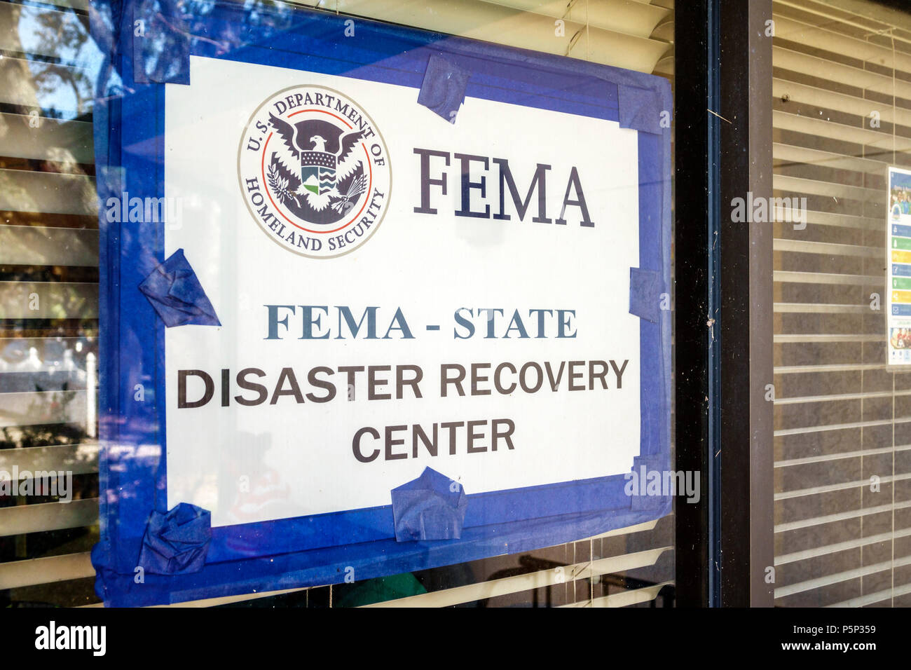 Immokalee Florida FEMA State Disaster Recovery Center centre storm assistance relief sign - Stock Image