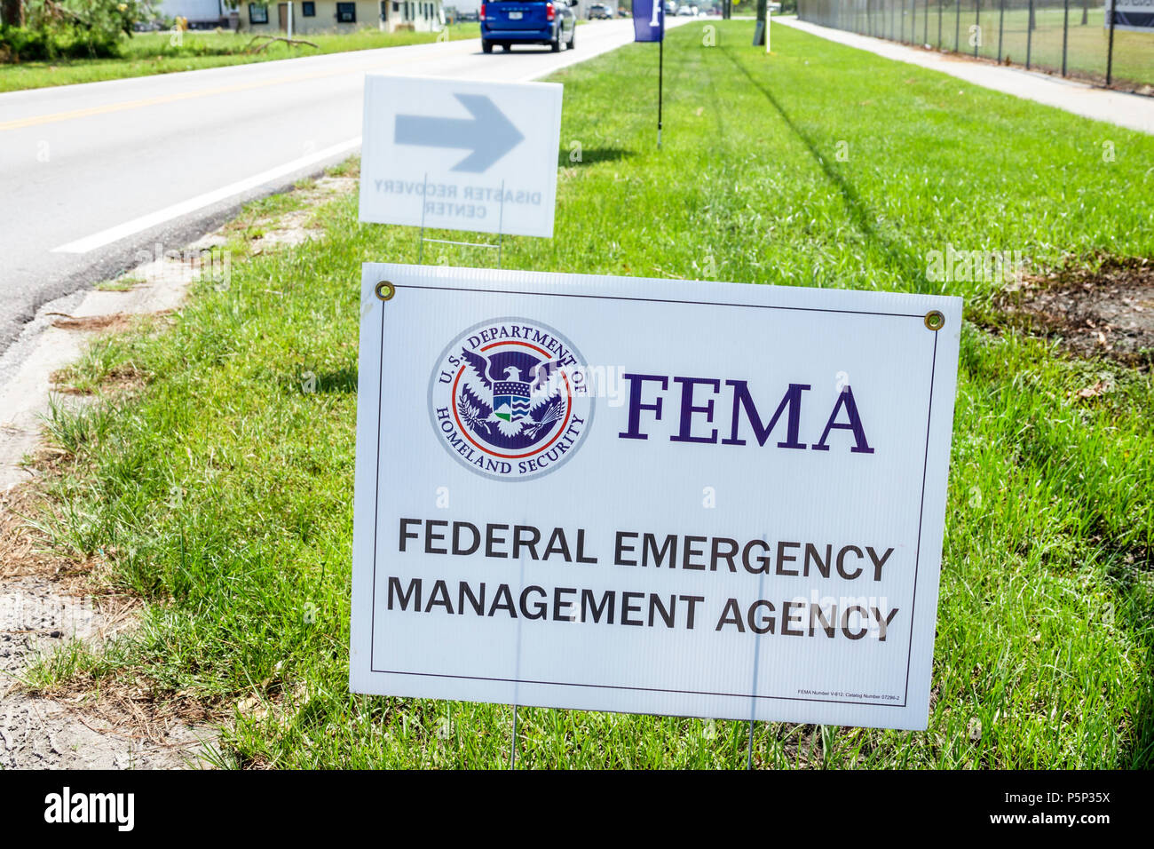 Immokalee Florida FEMA State Disaster Recovery Center centre storm assistance relief roadside sign - Stock Image