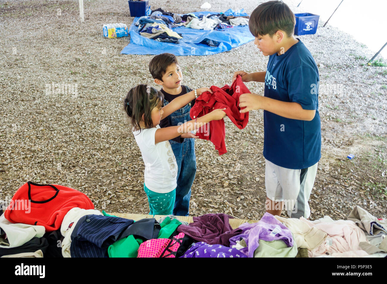 Florida LaBelle after Hurricane Irma storm assistance destruction aftermath disaster recovery relief donations free clothing distribution site point H - Stock Image